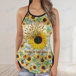 suicide sunflower choose to keep going Criss-Cross Open Back Cami Tank Top