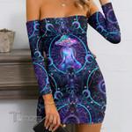 Mushroom Yoga Psychedelic Bandage Off Shoulder Dress
