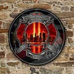 911 firefighter bravery sacrifice honor Round Wooden