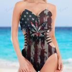 Weed american flag water color Cut Out Bikini