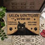 Halloween black cat salem sanctuary  Doormat
