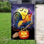 Happy halloween chicken witch Garden Flag, House Flag
