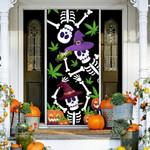 Weed halloween skeleton family Door Cover