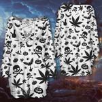 Weed halloween witch skull pattern Lace-Up Criss Cross Sweatshirt Dress