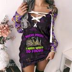 Weed halloween hocus pocus Lace-Up Criss Cross Sweatshirt Dress