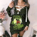 Weed halloween witch my broom broke Lace-Up Criss Cross Sweatshirt Dress
