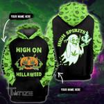 Weed halloween high on hellaweed high spirits custom name 3D All Over Printed Shirt, Sweatshirt, Hoodie, Bomber Jacket Size S - 5XL