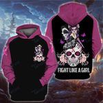 Breast cancer Skull fight like a girl 3D All Over Printed Shirt, Sweatshirt, Hoodie, Bomber Jacket Size S - 5XL
