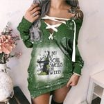 Weed halloween witch i bet my soul Lace-Up Criss Cross Sweatshirt Dress