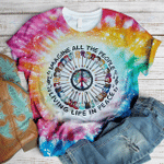 Hippie Imagine all the people living life in peace 3D All Over Printed Shirt, Sweatshirt, Hoodie, Bomber Jacket Size S - 5XL
