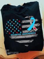 Diabetes Awareness Heart American Flag Graphic Unisex T Shirt, Sweatshirt, Hoodie Size S - 5XL