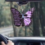 Diabetes butterfly i am the storm Car Ornament