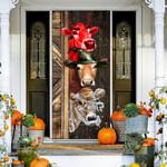 Farmer halloween cow Door Cover