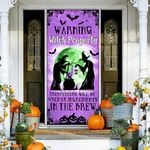 Witch halloween warning witch property Door Cover
