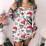 Skull christmas snow pattern Lace-Up Criss Cross Sweatshirt Dress