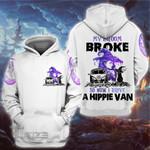 Halloween Witch My Broom Broke So Now I Drive A Hippie Van 3D All Over Printed Shirt, Sweatshirt, Hoodie, Bomber Jacket Size S - 5XL