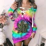 Weed tie dye in a world full of roses be a weed Lace-Up Criss Cross Sweatshirt Dress