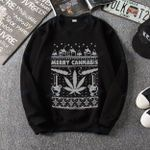Merry Cannabis Christmas Ugly Sweater Weed Lover Present Graphic Unisex T Shirt, Sweatshirt, Hoodie Size S - 5XL