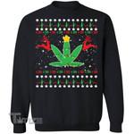 420 Cannabis Reindeer Christmas Sweater Graphic Unisex T Shirt, Sweatshirt, Hoodie Size S - 5XL