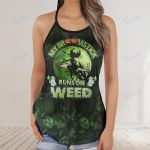 Weed halloween witch my broomstick runs on weed Criss-Cross Open Back Cami Tank Top