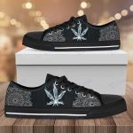 Weed leaf smoke pattern Low Top Canvas Shoes