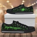 Weed heartbeat high maintenance Low Top Canvas Shoes