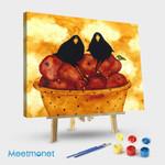 Crow Birds Blackbirds Red Apples