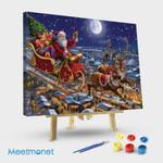 Santa Sleigh And Reindeer In Sky