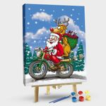 Christmas Santa Claus on a Motorcycle