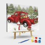 Vintage Snowman & Red Christmas Truck