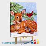 Deer & Rabbit & Bird & Squirrel in the Snow