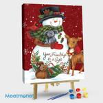 Snowman with Deer
