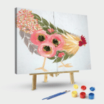 Floral Hen on White