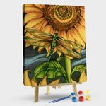 Sunflower and dragonfly