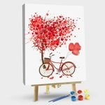 Heart balloon and tree and red bicycle