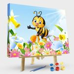 Cartoon Bee Holding Honey Dipper With Flower