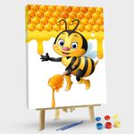 Cartoon Bees Holding Handle With Honey