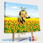 Cartoon Bee In Sunflower Field