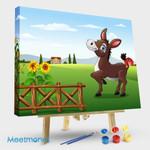 Happy Donkey With Farm Background