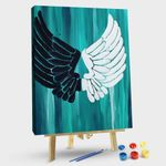 Black and white wings on blue background