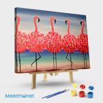 Five flamingos fla-mingling