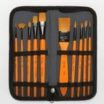 10 Pcs Paint Brushes Set With Cloth Bag