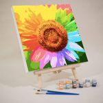Mini Paint by Numbers Kit – Colorful sunflowerII(Already Framed Canvas)