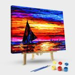 Abstract boat sail landscape