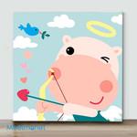 Mini - Hippos fall in love with birds(Already Framed Canvas)