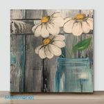 Mini - Small white flowers(Already Framed Canvas)
