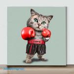 Mini-Boxing Cat  (Already Framed Canvas)