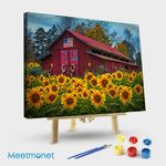 Country Barn in Sunflowers Textured