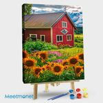 Red Barn in Summer Sunflowers