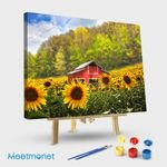 The Red Barn In Sunflowers